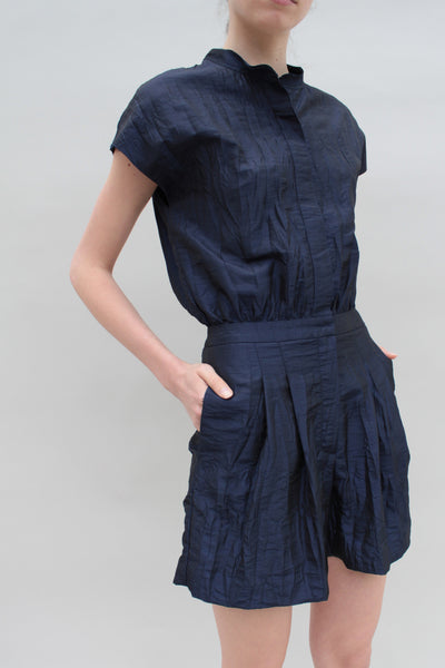 Navy Crinkle Texture Playsuit