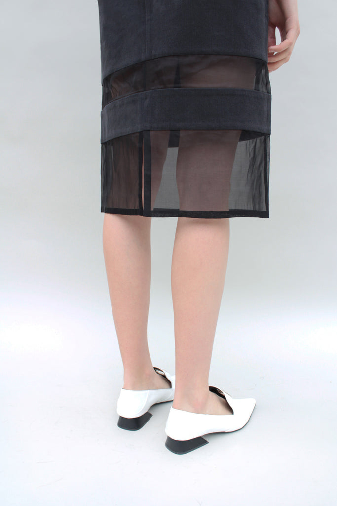 Black Denim and Organza Panelled skirt