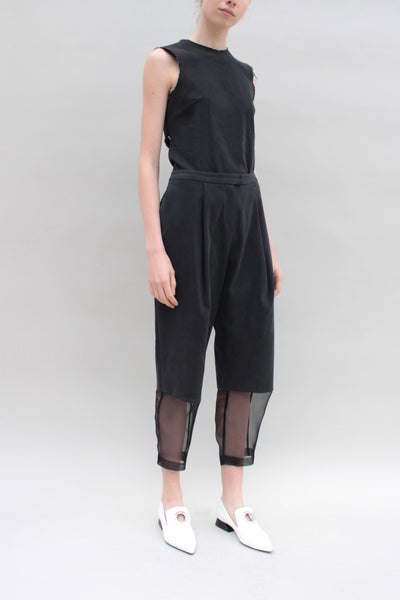 Black Denim Trousers With Organza Panels