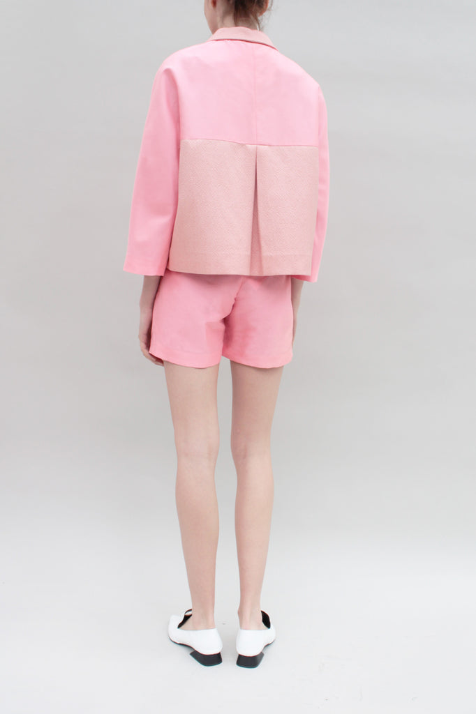 Vibrant Coral Silk Pleated Shorts