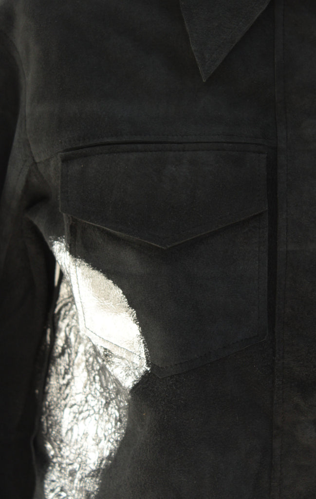 Silver Foiled Black Suede Reversible Jacket