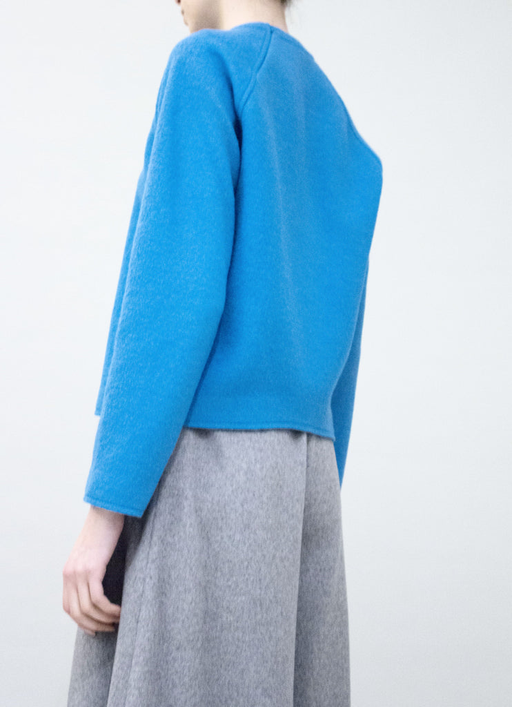 Blue Wool Raglan Top