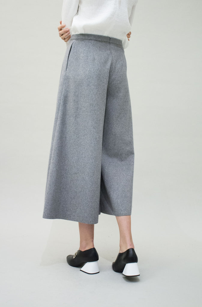 Wide Grey Wool Trousers