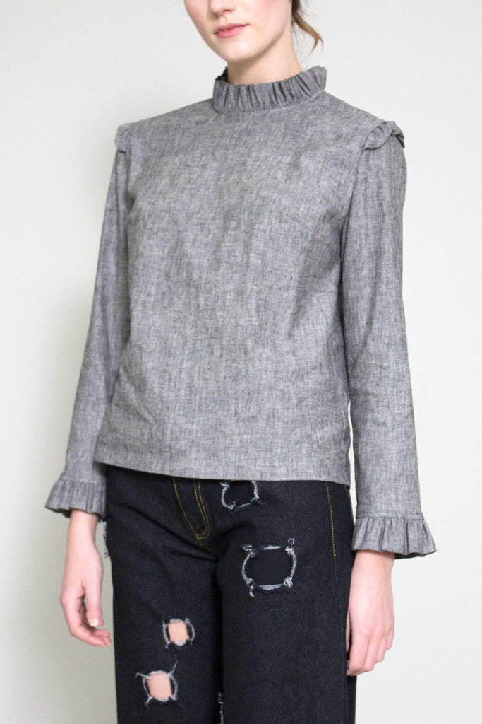 Noelle Grey Cotton Ruffle Collar Blouse