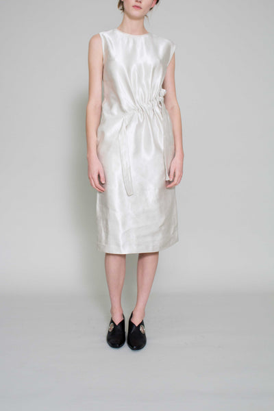 Emily Ecru Satin Drawstring Dress