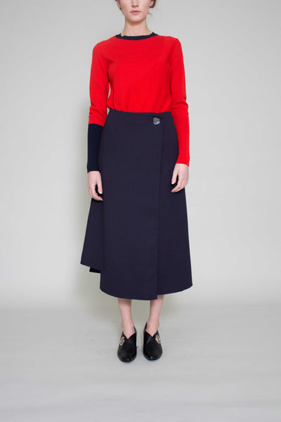 Navy Marianna Long Wrap Skirt