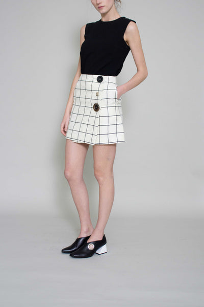 Gemma Check Wrap Mini Skirt