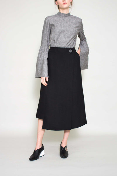 Black Marianna Long Wrap Skirt
