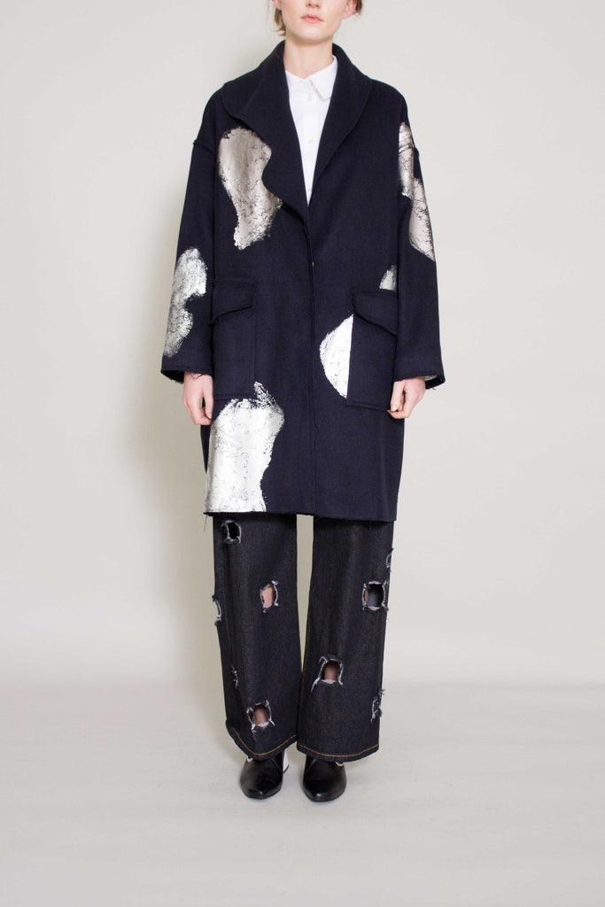 Lucia Navy Silver Foiled Coat