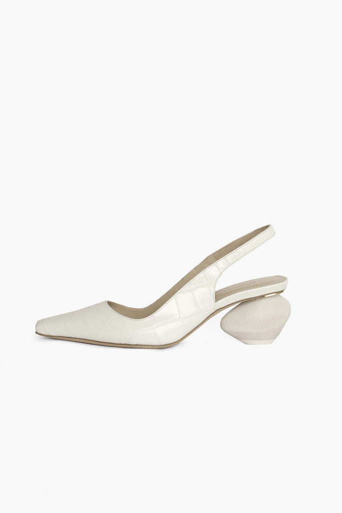 Margot White Croc Leather Slingback with White Heel