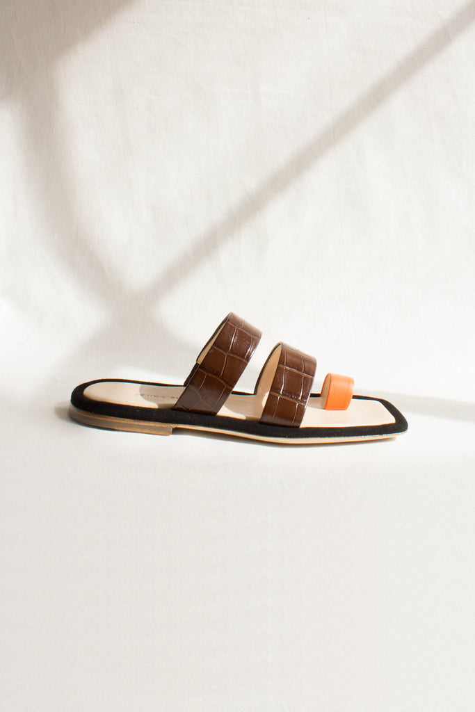 PRE-ORDER / Larissa Sandal Leather Croc Brown Orange