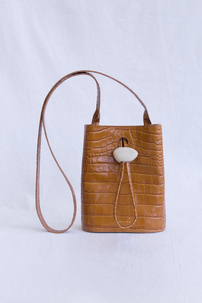 PRE-ORDER / Camila Bag Leather Croc Mustard + White Wood Shape