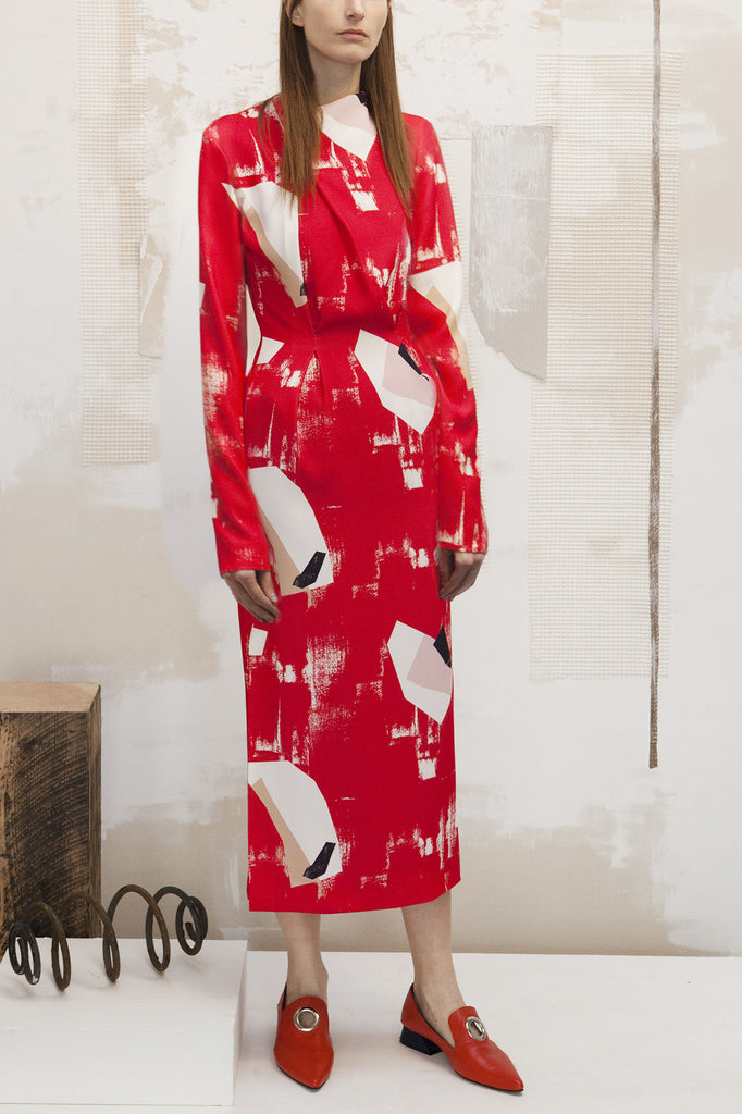 Sienna Red Abstract Printed Dress