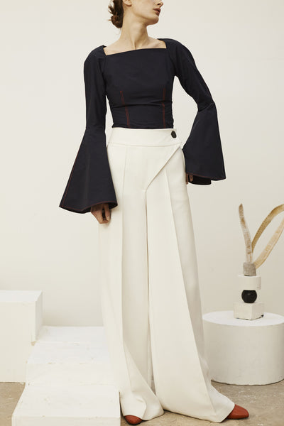 Lynn Wrap Trousers: Ivory or Black