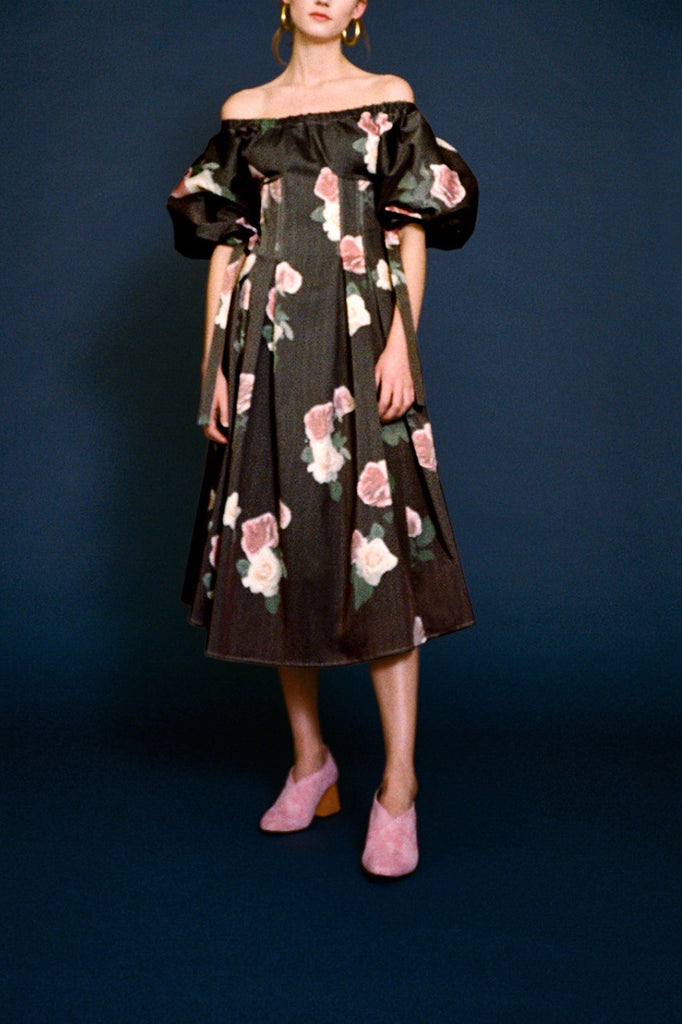 Greta Floral Printed Open-Neck Dress