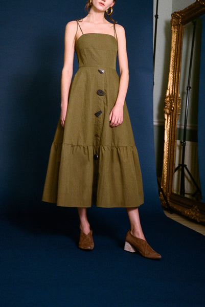 Maria Khaki Cotton Strap Dress
