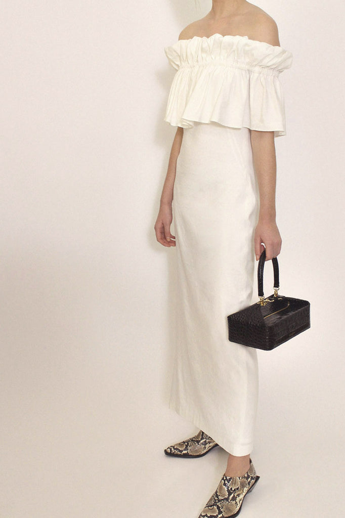 Mina White Linen Dress