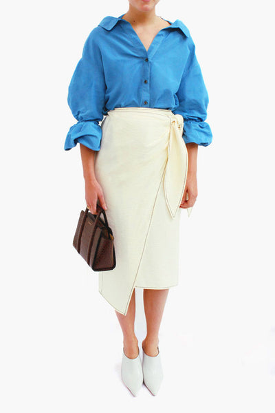 Amber Linen Dark Sky Blue Strap Detail Shirt with Puff Sleeves