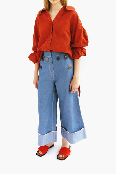 Amber Linen Brick Red Strap Detail Shirt with Puff Sleeves