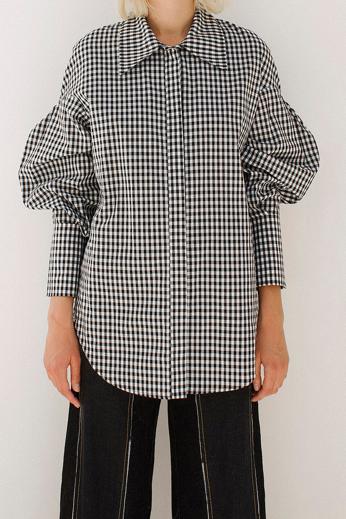 Tate Cotton Check Gingham 3D Sleeve Shirt