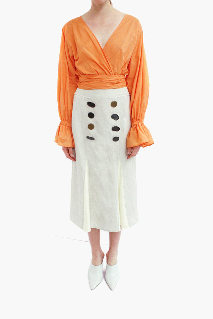 Flora Cotton Orange Wrap Tie Blouse