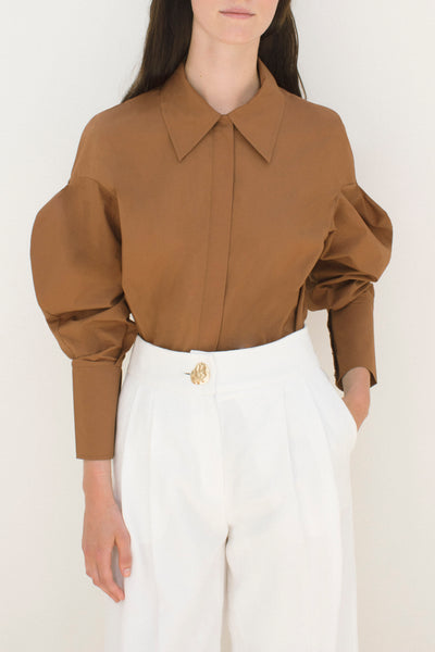 Tate Hazelnut Brown Cotton Poplin 3D Sleeve Shirt