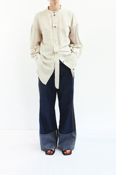 PRE ORDER / Annette Linen Light Grey Separate Placket Shirt