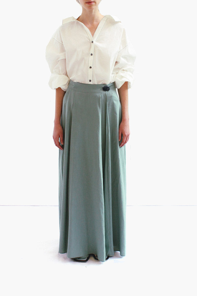 Evelyn Linen Dark Mint Long Wrap Skirt