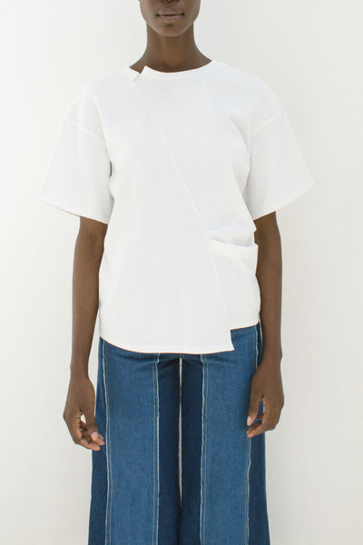 Sabrina Off-White T-Shirt with Pleats