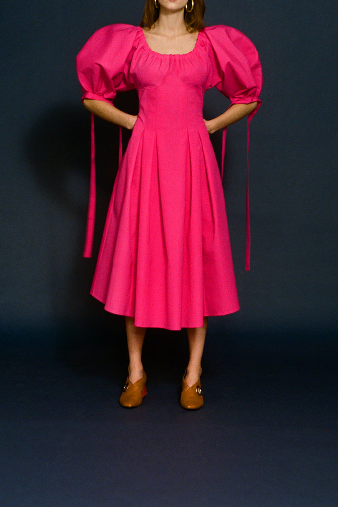 Greta Magenta Crepe Open-Neck Dress