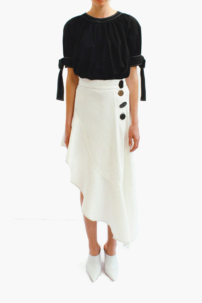 Ella Denim White Asymmetric Ruffle Skirt