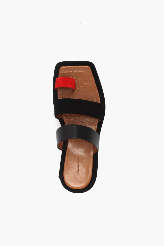 Larissa Red Suede + Black Leather Three Strap Sandal