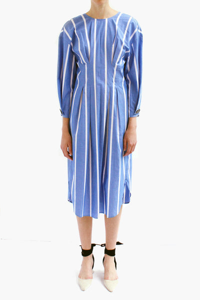 PRE ORDER / Maya Cotton Stripe Blue Tie-back Detail Dress