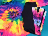 Capri Leggings - Black with Paws and Watercolor Background - Animals Anonymous Apparel