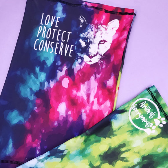 Neck Gaiter - Cougar Love Protect Conserve (preorder ends 9.15) - Animals Anonymous Apparel