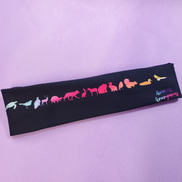 Headband - Rainbow Animal Silhouttes Black Background - Animals Anonymous Apparel