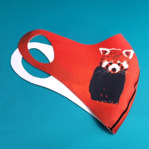 Red Panda- Red Background - CHILD MASK - Animals Anonymous Apparel
