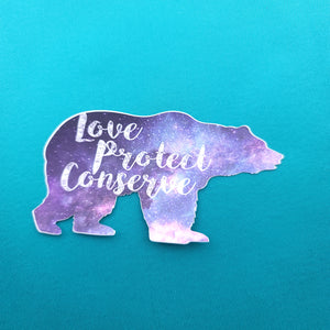 Galaxy Bear - Love Protect Conserve - Sticker - Animals Anonymous Apparel