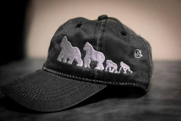Gorilla Family Silhouette Distressed Charcoal Hat - Animals Anonymous Apparel