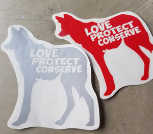 Maned Wolf - Love Protect Conserve - Vinyl Decal - Animals Anonymous Apparel