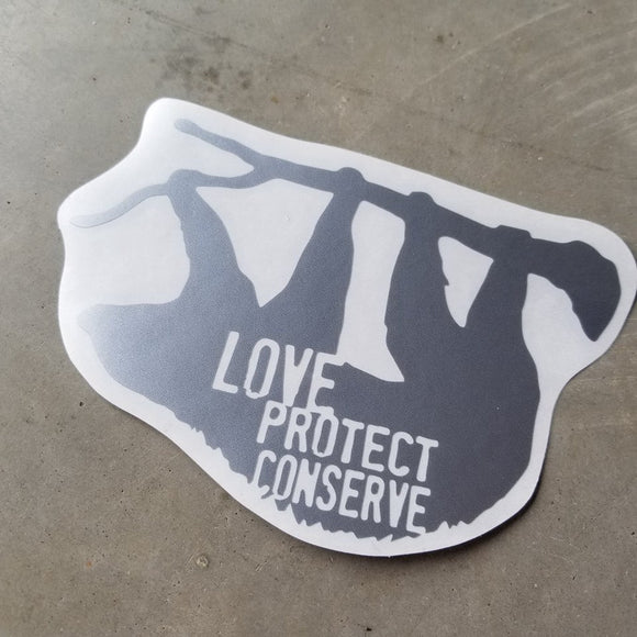 Sloth - Love Protect Conserve - Vinyl Decal - Animals Anonymous Apparel