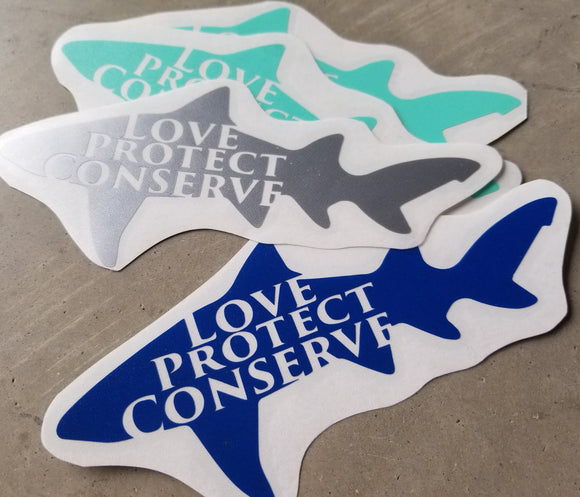 Shark - Love Protect Conserve - Vinyl Decal - Animals Anonymous Apparel