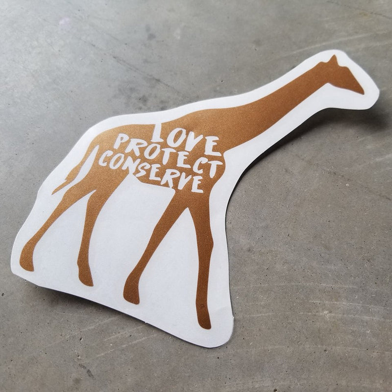 Giraffe - Love Protect Conserve - Vinyl Decal
