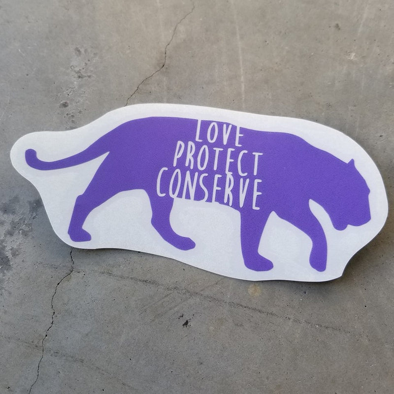 Jaguar - Love Protect Conserve - Vinyl Decal