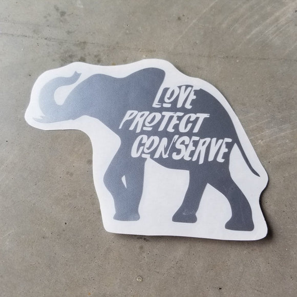 Elephant - Love Protect Conserve - Vinyl Decal - Animals Anonymous Apparel