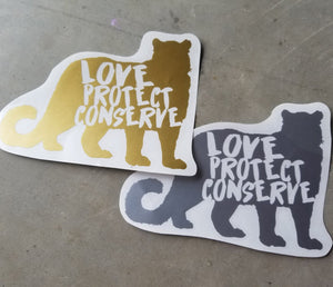 Snow Leopard - Love Protect Conserve - Vinyl Decal