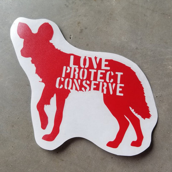 Painted Dog - Love Protect Conserve - Vinyl Decal - Animals Anonymous Apparel
