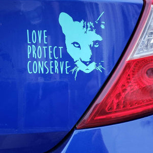 Cougar Face- Love Protect Conserve - Vinyl Decal - Animals Anonymous Apparel