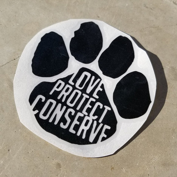 Paw Print - Love Protect Conserve - Vinyl Decal - Animals Anonymous Apparel