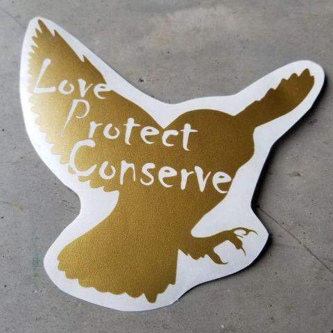 Owl - Love Protect Conserve - Vinyl Decal - Animals Anonymous Apparel